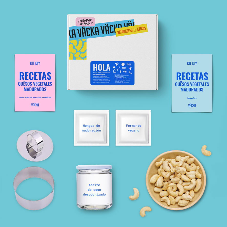 Un kit do it yourself para hacer quesos, de Väcka, una buena idea para regalar vegano estas fiestas.